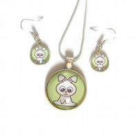 Rabbit Necklace and Earrings Set, Bunny Jewellery Set,  Cute Gifts For Kids