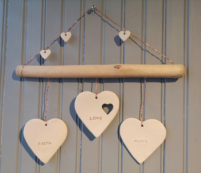 Hand Decorated Small Hope Hanging Heart