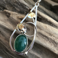 14x10 green agate silver teardrop leaf pendant and chain
