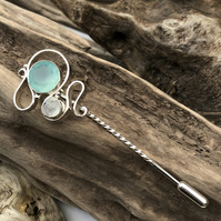 Solid silver stick pin with pale green chalcedony, moonstone -00000106