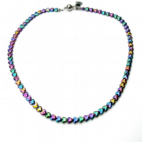 Rainbow haematite heart necklace with magnetic clasp