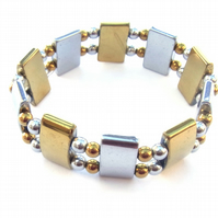 Silver and gold plated haematite stretch bracelet