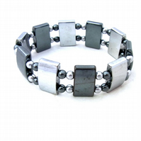 Silver plated and black haematite stretch bracelet