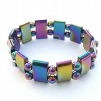 Rainbow haematite stretch bracelet