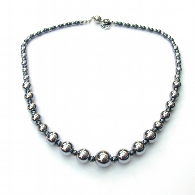 Silver plated and black haematite necklace with magnetic clasp