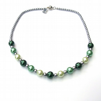 Silver plated haematite and pearlised glass necklace with magnetic clasp