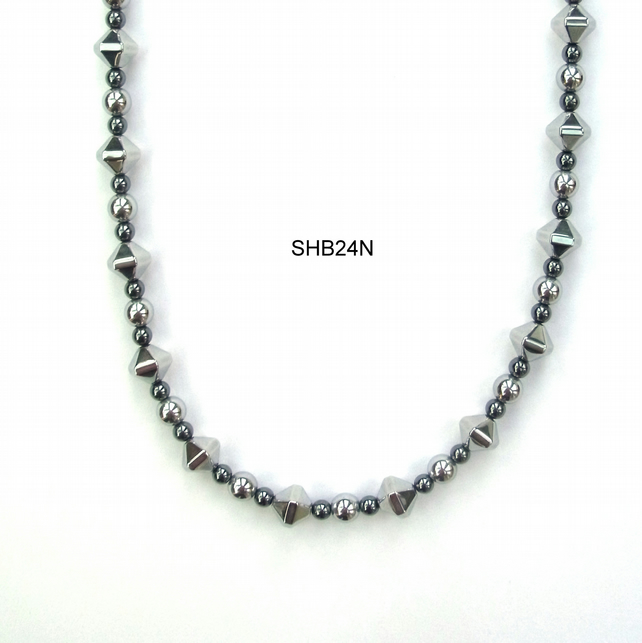 Black and Silver plated haematite necklace