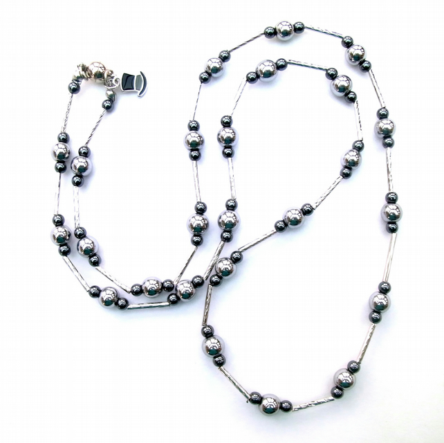 "30"" long silver plated haematite necklace"