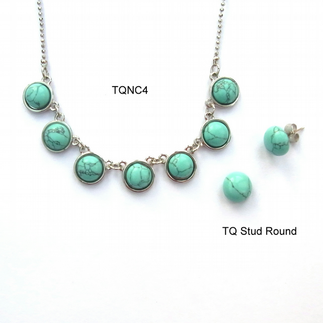 Synthetic turquoise necklet and earring set