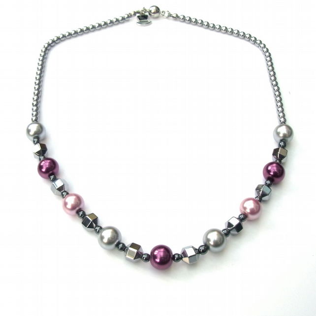 Silver plated haematite and pearlised glass necklace with magenetic clasp