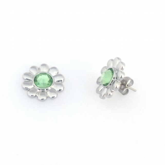 Birthstone crystal daisy stud earrings by Tophat Jewellery