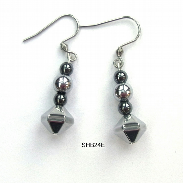 Black and silver plated haematite earrings