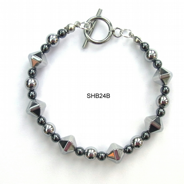 Black and silver plated haematite beads