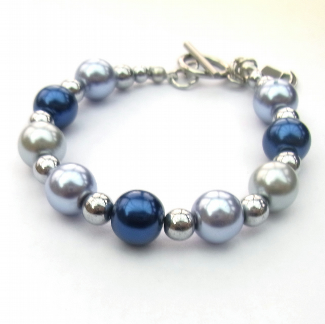 Silver plated haematite and pearlised glass bracelet