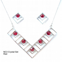 Red Crystal Necklace and Earrings Set