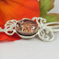 Cremation Ashes Brooch, Fused Glass Memorial Jewellery, Made to Order,