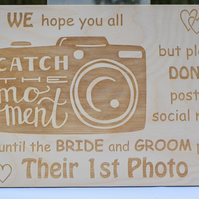 Catch The Moment Wooden Sign - Wedding Venue Decoration