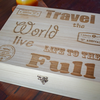 Wooden Travel Memory Box - Personalised to Order - Travelling Gifts & Storage