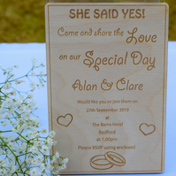 Wooden Engraved Wedding Invitation - Custom Made to Order - Personalised