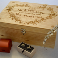 Wooden Wedding Memory Box - Personalised and Engraved