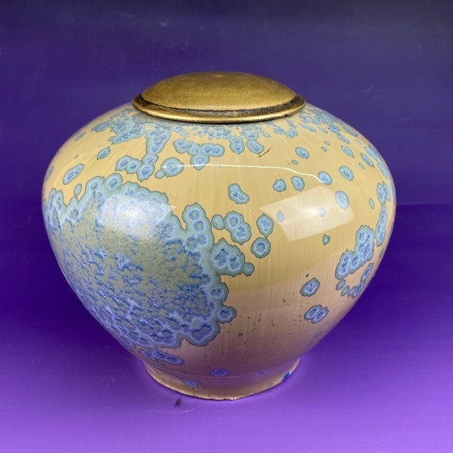 Raindrops-funeral urn for ashes,handmade crystalline ceramic cremation art urns!