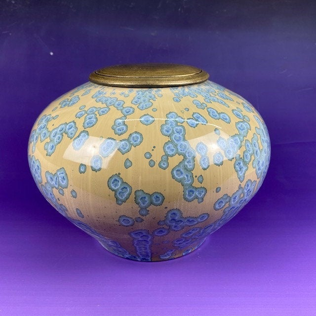 Blue Clouds-funeral urn for ashes,handmade crystalline ceramic cremation art urn