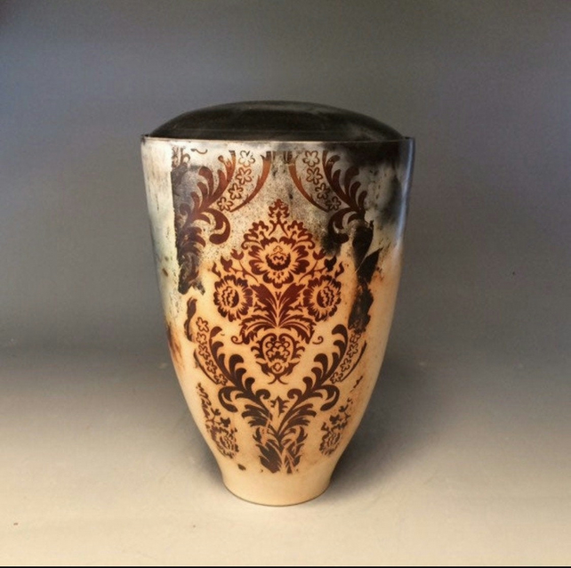 Relaxation-funeral urn for ashes,unique handmade ceramic cremation art urns!