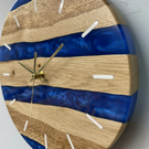 English Oak Wall Clock with Sapphire Blue Pearlescent Resin, Wooden Wall Clock,