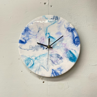 Blue & White Resin Wall Clock, Small Round Wall Clock, Abstract Wall Clock,