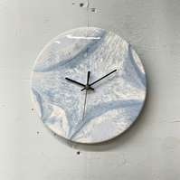 Pale Blue Resin Wall Clock, Small Round Wall Clock, Unusual Wall Clock, Modern