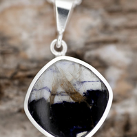 Whitby Jet Pendant - Blue John Pendant - Double Sided Pendant in Sterling Silver