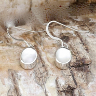 Mother of Pearl Silver Drop Earrings Oval Design - Handmade