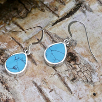 Turquoise Silver Earrings Pear Drop Design - Handmade
