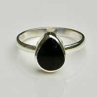 Whitby Jet Sterling Silver Ring Teardrop Design