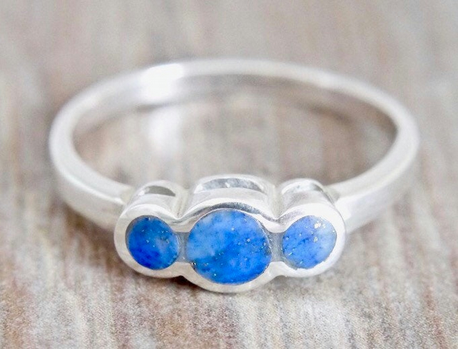 Lapis Lazuli Ring - Three stone Ring - Handmade in Sterling Silver