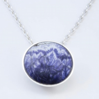 Blue John Pendant Round Blue John pendant with sterling silver - 12mm