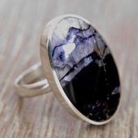 Blue John Ring - Handmade Silver Ring with an Oval Blue John stone