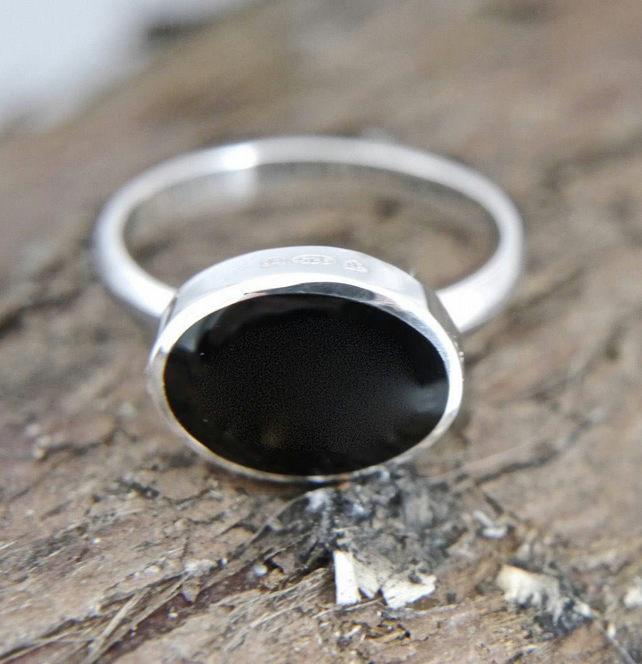 Whitby Jet Ring Handmade in Sterling Silver