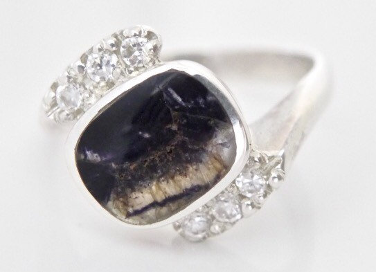 Blue John Ring with Cubic Zirconia - Handmade Sterling Silver