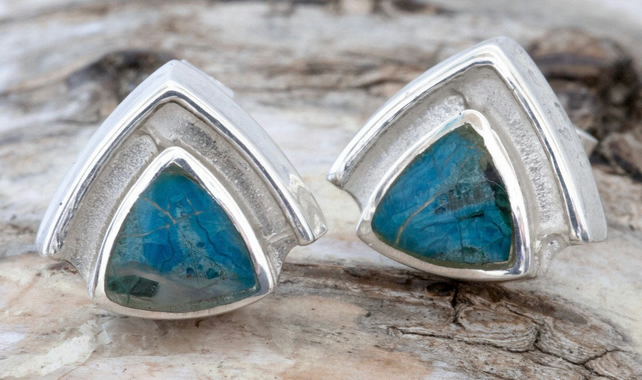 Blue Jasper Earrings - Triangle Stud Earrings - Handmade in Sterling Silver