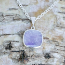 Mother of Pearl and Amethyst Double Sided Reversible Pendant Handmade in Silver