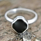 Whitby Jet Ring in Sterling Silver - Handmade - Womens Whitby Jet Ring