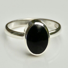 Whitby Jet Sterling Silver Ring Oval Design