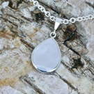 Mother of Pearl and Whitby Jet Pendant- Pear Shape- Handmade Silver Double Sided