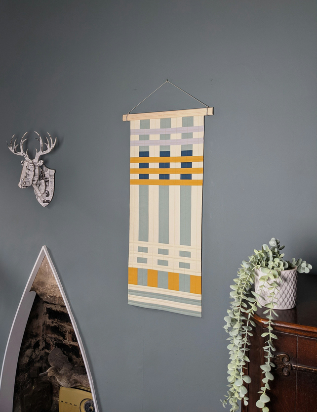 Contemporary Textile Wall Hanging- Modern quilted geometric patchwork