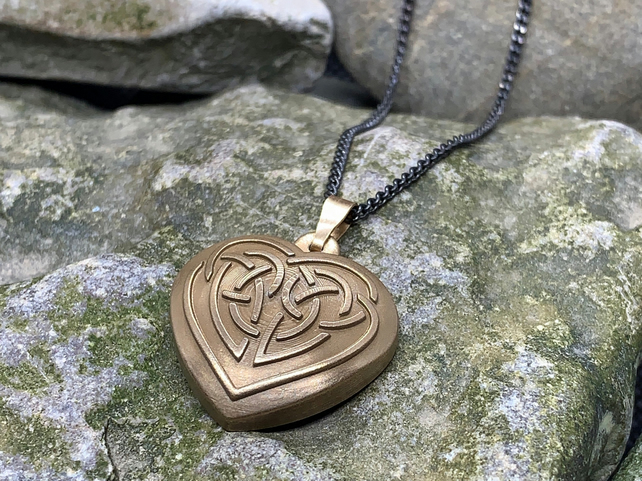 Celtic Heart Pendant in Bronze with Curb Chain Necklace