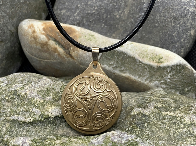 Viking Triple Spiral Pendant in Bronze with Leather Cord Necklace