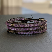 Purple Amethyst Beaded Gemstone Wrap Bracelet