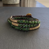 Green Jade Beaded Gemstone Wrap Bracelet