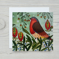 Greetings Card - Little Robin Red Breast - Wild Bird & Red Berries